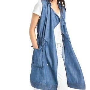 Gap | chambray utility vest midi length w collar